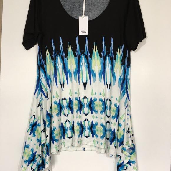 b302f1d0d36c9 Rose   Olive Short Sleeve Tie Dye Top Tunic NWT